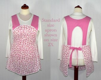 Retro 50s Smock Apron - Daisies and Pin-dots in Pink - hostess apron, all day apron, made-to-order XS to Plus Size