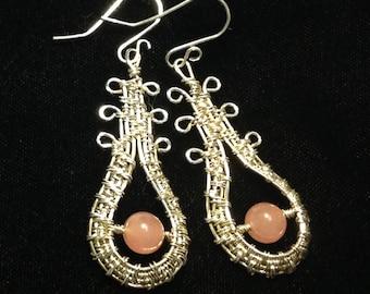 Sterling tear drop rose Quart wire wrap earrings