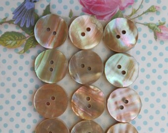 Buttons Natural Mother of Pearl 6pcs
