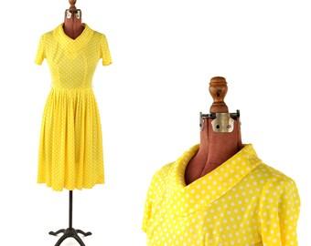 Vintage 1960's Bright Sunny Yellow Polka Dot Rockabilly Preppy Summer Nylon Dress S