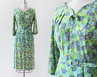 1950s Tulip Print Dress / 1950s Floral Print Dress / Flower Dress / 1950s Tulip Dress / Long Sleeve / Medium / Large / 30 Waist
