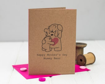 Mummy Bear Mother's Day Card - Card for Mother - Cute Card for Mum - Mama Bear Card