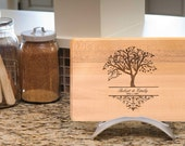 14'' x 9'' Tree Monogram Maple Cutting Board Personalized Engraved Gift Name And Date 100% Handmade by Woodbob