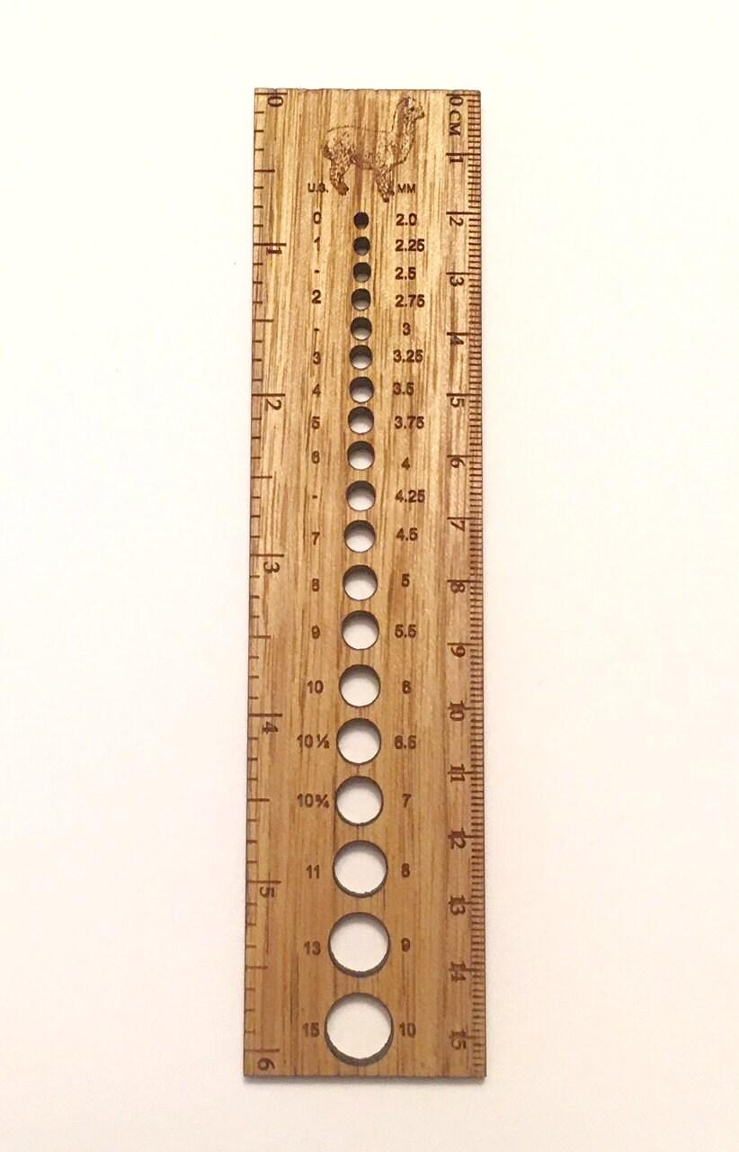 Knitting Gauge Ruler : Retromantic fripperies knitting needle gauge ruler acorn bee
