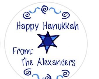 Hanukkah Gift Tags, Gift Tags Star of David, Chanukah Gift Sticker, Hanukkah Return Address Label, Dreidel tag, Hanukkah Envelope Seal (519)