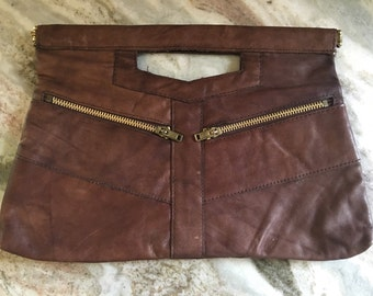 Vintage brown leather clutch purse