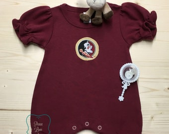 FSU Inspired Baby Romper, Noles Baby Romper, Garnet Baby Romper, FS Seminoles Baby Girl, Baby Shower Gift, Going Home Outfit, FSU Game Day