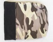 Dog or Cat Burrow Bag, Sleeping Bag, Snuggle Sack, Gray, and Ivory Camoflauge Print with Charcoal Gray Fleece Lining