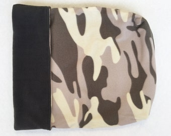 Dog or Cat Burrow Bag, Sleeping Bag, Snuggle Sack, Gray, and Ivory Camoflauge Print with Charcoal Gray Fleece Lining