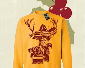 Feliz Navidad Señor Reindeer Christmas Sweater  Pullover Sweatshirt - S M L Xl 2X