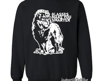Lion Professor Sweater Nerdy Glasses Make You Smarter Fleece Pullover Sweatshirt - S M L Xl 2X