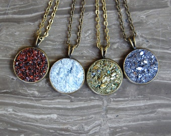 Crushed Druzy Crystal Necklace