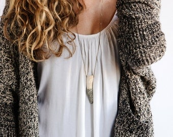 Crushed Pyrite Antler Necklace