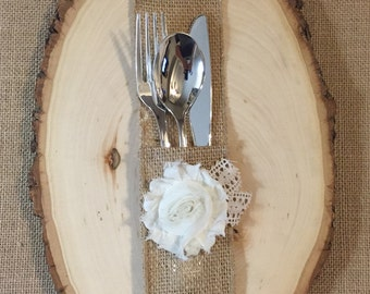Burlap Silverware Holder with ivory fabric flower - Set of 4 Easter Spring Summer