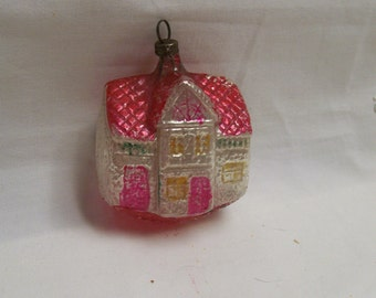 Antique House Ornament Blown Glass Hand Painted