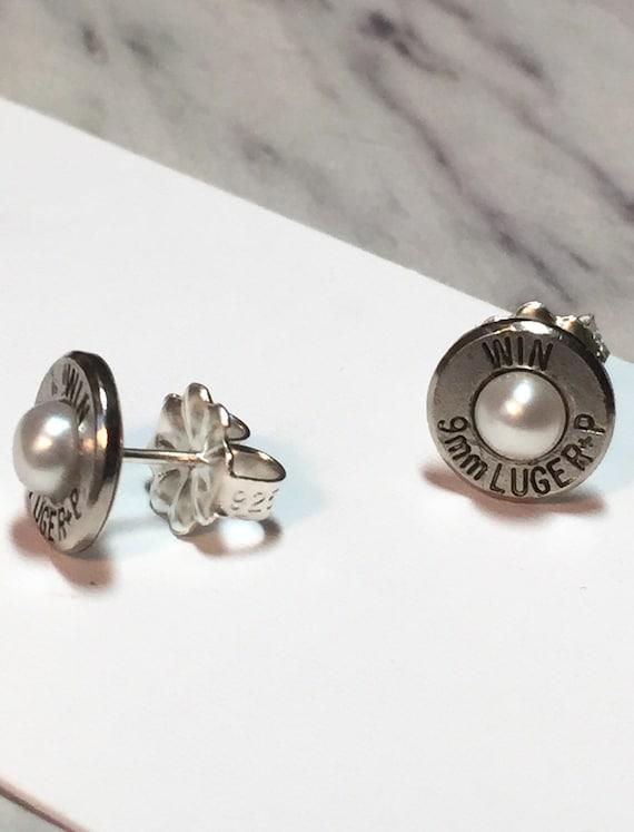 freshwater pearl bullet stud earrings 9mm by