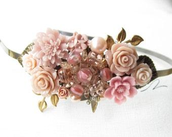 Haarreif,vintage,hair band,head band,Wedding,Bridal Headband,rose  Hairband, Floral Head Piece, Romantic Flower, Boho Wedding, Woodland Chic
