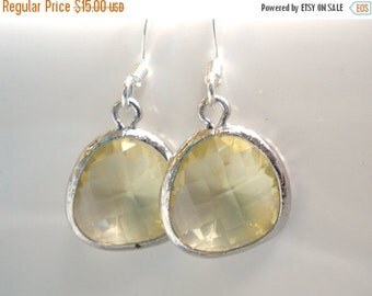 SALE Yellow Earrings, Citrine Earrings, Jonquil, Soft Yellow and Silver Earrings, Bridesmaid Earrings, Bridal Earrings Jewelry, Bridesmaid G