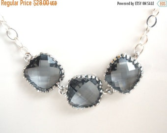 SALE Gray Necklace, Grey Necklace, Silver Gray Pendant, Sterling Silver Necklace, Charcoal, Bridesmaid Necklace, Bridal Jewelry, Bridesmaid