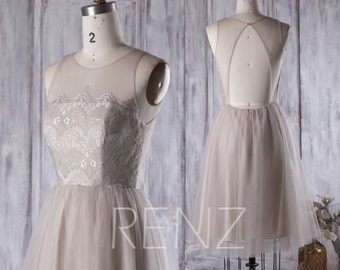 Light Gray Bridesmaid Dress, Lace Illusion Neck Wedding Dress, A Line Tulle Prom Dress, Short Backless Evening Gown Knee Length (HS265)