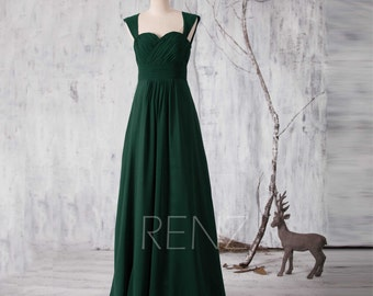 2016 Dark Green Bridesmaid dress, Long Sweetheart Wedding dress, Double Straps Prom dress, Hollow Back Maxi dress floor length (G157A)