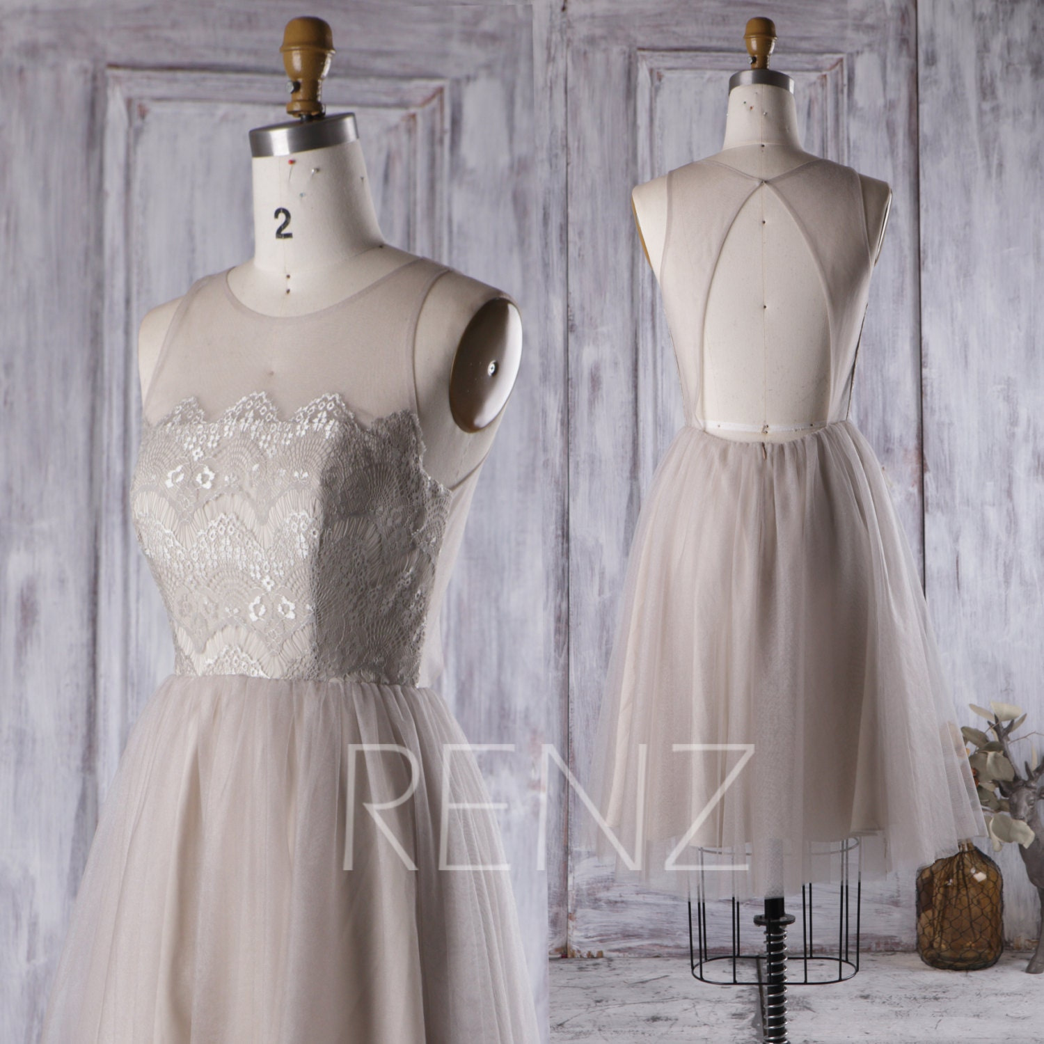 2017 light gray bridesmaid dress lace illusion neck wedding for Light grey wedding dress