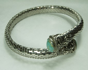 1960s Choker Necklace Chainmaille Mesh Turquoise Glass Easter Egg Stones Whiting & Davis Style