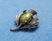 Vintage Thistle Brooch Pin antiqued silver with green faux stone