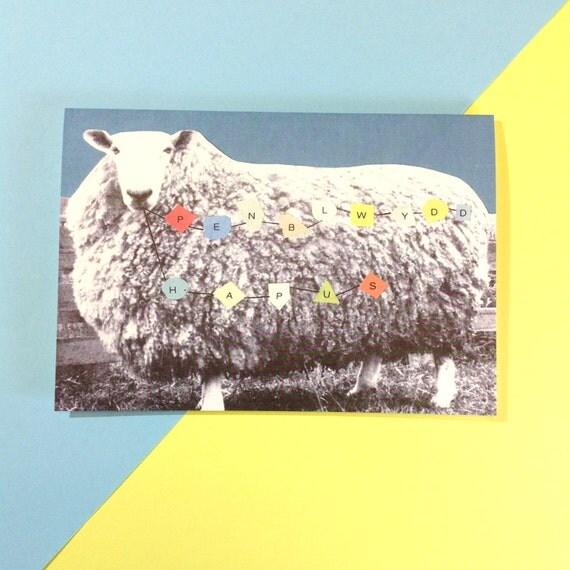 Welsh Penblwydd Hapus Birthday Sheep Eco Friendly Greeting Card