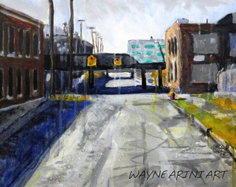 Original Acrylic Urban Industrial Expressionist 16 x 20 Detroit Painting by Michigan Artist