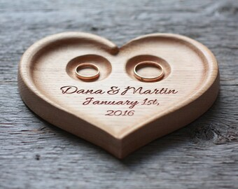 Personalized Wood Wedding Ring Bearer Pillow, Wedding Ring Dish, Wedding Ring Plate, Ring Bearer Pillow Alternative
