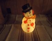 Vintage Plastic Snowman Figure / Lighted Snowman / 70's