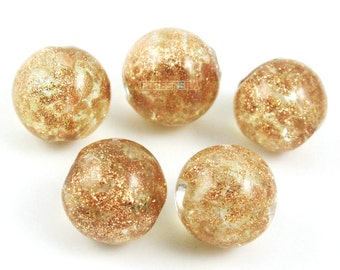 12mm Gold Foil Glass Bead Light Brown Glass Bead for Jewelry (BEAD-A14-12-02)