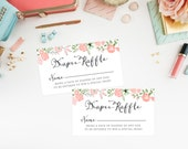 Instant Download - Floral Wreath Diaper Raffle Tickets