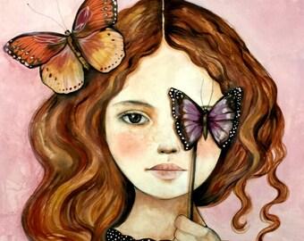 Carlotta with butterflies art print