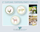 Baby Shower Cupcake Toppers/Party Circles (Instant Download/Printable) - Vintage Farm Theme/Gender Neutral/Farm Animals (Style 13088)