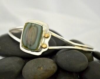 sterling silver cuff bracelet.  Imperial jasper bracelet.  14K gold accents