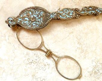 Vintage Antique Brass Folding Lorgnette Opera Glasses