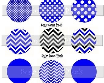INSTANT DOWNLOAD Blue  Black  Polka Dot Chevron   Solid Blank  1 inch Circle Bottlecap Images 4x6 sheet