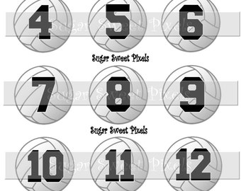 INSTANT DOWNLOAD Volleyball  Numbers 1 inch circle digital bottlecap Images