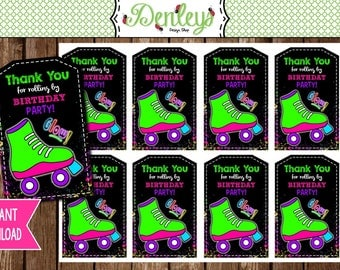 INSTANT DOWNLOAD: Glow Skate Thank You Tags