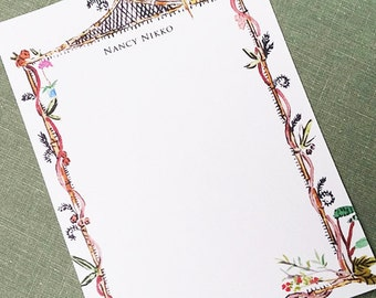 Whimsical Chinoiserie Frame Personalized Flat Notes, Set of 15