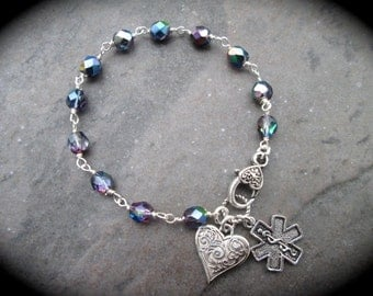 Diabetic Medical Alert Bracelet with Rosary Style chain and heart charm and clasp Diabetes Awareness Bracelet