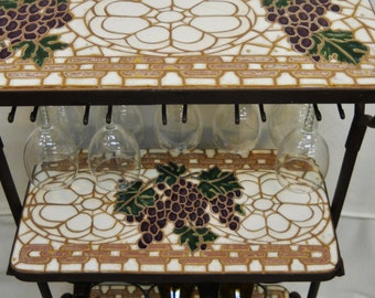 3-tier Wine and Goblet Rack with Handmade Ceramic Tile Mosaic Grape Motif Shelves