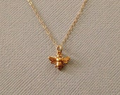 Gold Bee Necklace -Honey Bee Necklace in Gold -Tiny Gold Bee Necklace