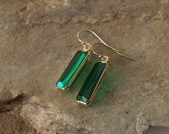 Emerald Earrings in Gold -Gold Emerald Earrings -May Birthstone Earrings