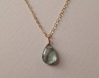 Mystic Green Quartz Gem Necklace in Gold -Beautiful Green Gem Necklace in Gold