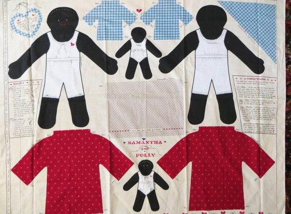 Black Rag Dolls Fabric Craft Panel For Sewing Samantha And