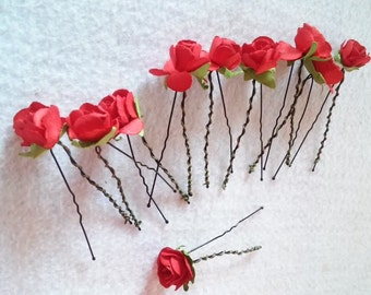 10  Beautiful Red Rose Hair Pin.