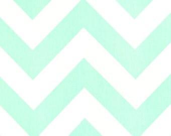 1 Yard Mint Green Large ZigZag Fabric - Premier Prints- Zippy Chevron Fabric by the Yard. Destash